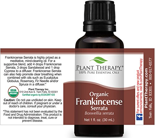 Plant Therapy USDA Certified Organic Frankincense Serrata Essential Oil. 100% Pure, Undiluted, Therapeutic Grade. 10 ml (1/3 oz). by Plant Therapy (Image #1)