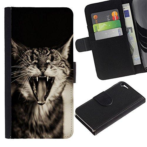 LASTONE PHONE CASE / Luxe Cuir Portefeuille Housse Fente pour Carte Coque Flip Étui de Protection pour Apple Iphone 5 / 5S / Cute Funny Sleepy Cat