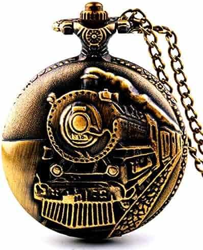 Picvadee Unisex Antique Case Vintage Brass Rib Chain Quartz Pocket Watch Train NT004