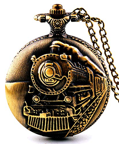 Picvadee Unisex Antique Case Vintage Brass Rib Chain Quartz Pocket Watch Train NT004 Brass Quartz Pocket Watch