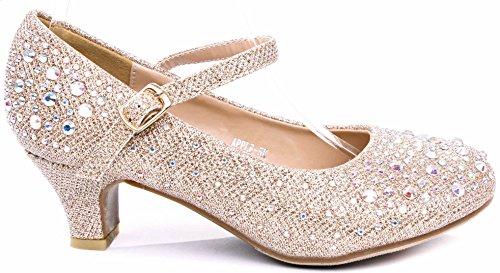 JJF Shoes Apple Kids Champagne Sparkling Mary Jane Rhinestone Glitter Formal Dress Low Heel Pumps-3