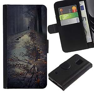 Paccase / Billetera de Cuero Caso del tirón Titular de la tarjeta Carcasa Funda para - Puddle Reflection Fall Autumn Nature - Samsung Galaxy S5 V SM-G900
