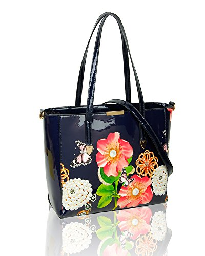 SwankySwans - Rosie Patent Leather Tote, Borse Tote Donna Blu (Navy)