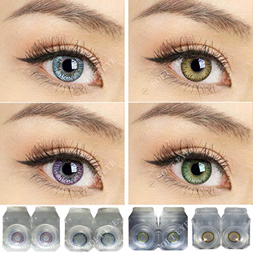 Soft Eye Combo Pack of 4 Pairs of Monthly Color Contact Lenses (Sky Blue, Hazel,Green & Violet) (Zero Power/Lenses Only)