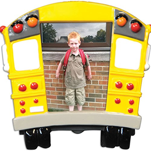 Personalized School Bus Picture Frame Christmas Ornament for Tree 2018 - Milestone Memory Yellow Transit Photo Display - Student Child First Day Worker Kids 1st Best Driver Free Customization by Elves