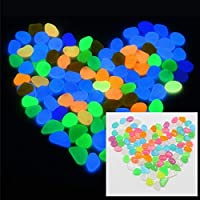 100 Pieces Pack Colorful Glowing Garden Pebbles, Glow in The Dark Decorative Stone for Walkways Decor, Luminous Stones for Plants Pot, Fish Tank etc,Colorful Luminous Plastic Pebbles