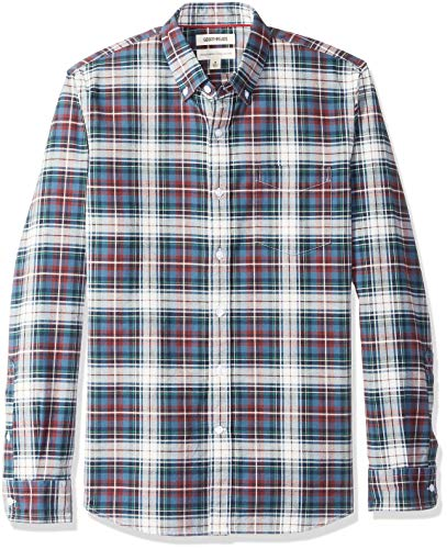 Goodthreads Men's Standard-Fit Large-Scale Tartan Oxford Shirt, Blue/Burgundy, XXX