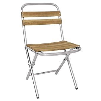 Bolero GL980 plegable sillas, madera de fresno y aluminio (Pack de ...