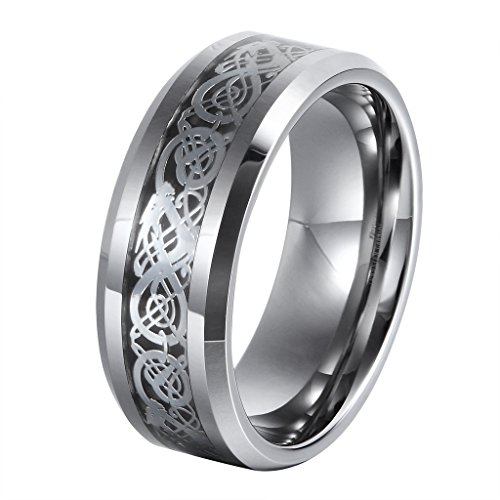 L-Ring 8MM Men's Tungsten Wedding Ring Silver Celtic Dragon Inlay Polished Beveled Edge, Size 7-14(12) by L-Ring