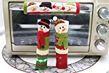 Christmas Handle Cover, Coxeer 3PCS Christmas Refrigerator Door Handle Holder Snowman Kitchen Appliance Fridge Microwave Dishwasher Door Cloth Protector