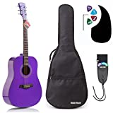 Acoustic Guitar Bundle Dreadnought Series by Hola! Music with D'Addario EXP16 Steel Strings, Padded Gig Bag, Guitar Strap and Picks, Full Size 41 Inch (Model HG-41PP), Purple