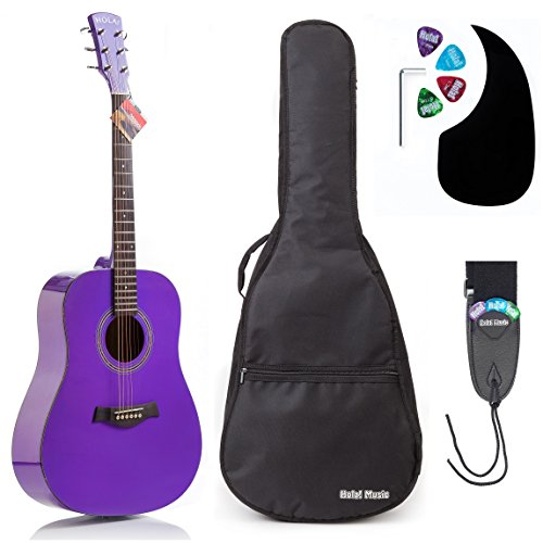 Acoustic Guitar Bundle Dreadnought Series by Hola! Music with D'Addario EXP16 Steel Strings, Padded Gig Bag, Guitar Strap and Picks, Full Size 41 Inch (Model HG-41PP), (Daddario Exp16 Acoustic Guitar Strings)