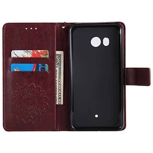 Funda HTC U11 - Alta Calidad Flip PU Cuero Caso Sol Patrón en Relieve /Stent/Billetera/Con el Sostenedor de Tarjeta/Proteccion Caso Cubrir para HTC U11(Rosa) Marrón