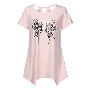 db4644f3c696 XXYsm Damen Tops Bluse Oberteil Sommer Kurzarm Lässig Blusen Schmetterling  Drucken O-Ausschnitt Pullover Shirt Aushöhlen Hemd Freizeit T-Shirt Frauen   ...