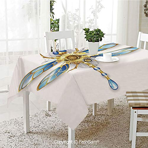 AmaUncle 3D Dinner Print Tablecloths Close Up View of Mechanical Dragonfly with Multifaceted Eyes and Gears Body Print Resistant Table Toppers (W60 xL84) -