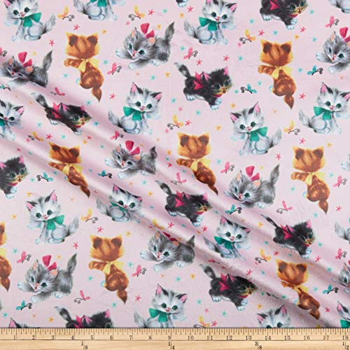 (Michael Miller Minky Kitties Pink, Fabric by the Yard)