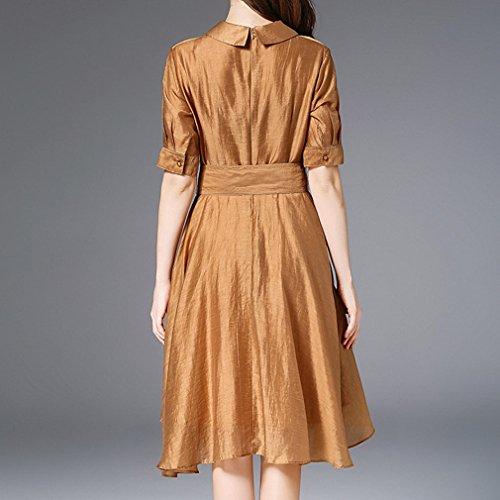 Kleid Honghu Casual Damen Braun Plissee Kurzarm Hemdkragen nFHX8qF