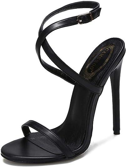 "Gold Color Open Toe 4.5"" Stiletto Strappy Ankle Strap Buckle Closure Women Heels"