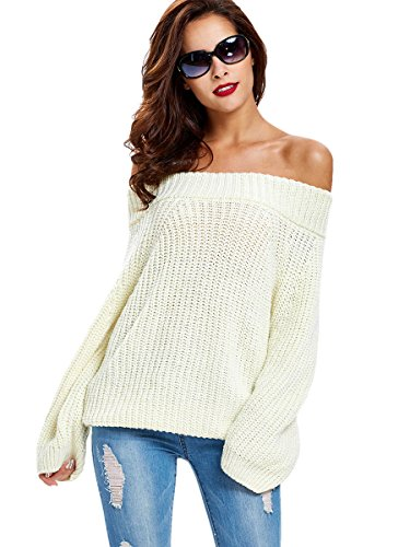 Chunky Knit Jumper (Young17 Women's Casual Slash Neck Long Sleeve Autumn Knit Sweater Loose Pullover)