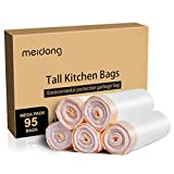 Trash Bags, meidong 13 Gallon Garbage Bags Large Tall Kitchen Multipurpose Unscented Drawstring Strong White Bags (5 Rolls/95 Counts) (white, 22.4*10.4*19.8)