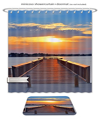 Minicoso Bath Two Piece Suit: Shower Curtains and Bath Rugs Man Fishing From A Pier On The Chesapeake Bay Maryland At Sunse Shower Curtain and Doormat - Macys Maryland