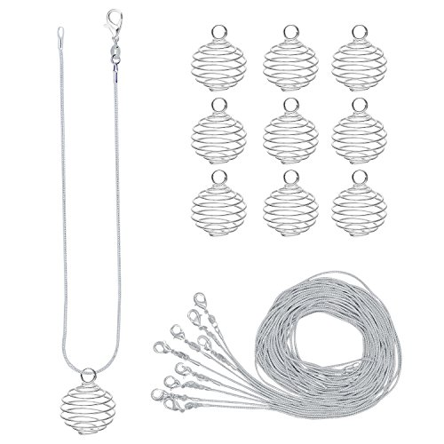 - CrazyPiercing 10 Pack Bead Cages Pendants 25 x 20 mm with 10 Pack 24 Inches Snake Chain Necklaces