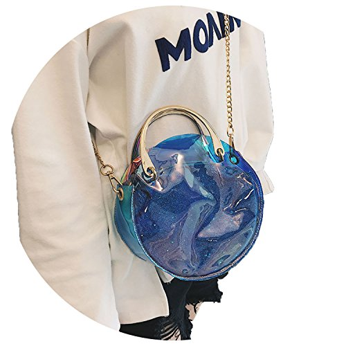 circle Black female laser bag bag chain 2018 Fashion bag Messenger semi shoulder transparent I7xZwYwp