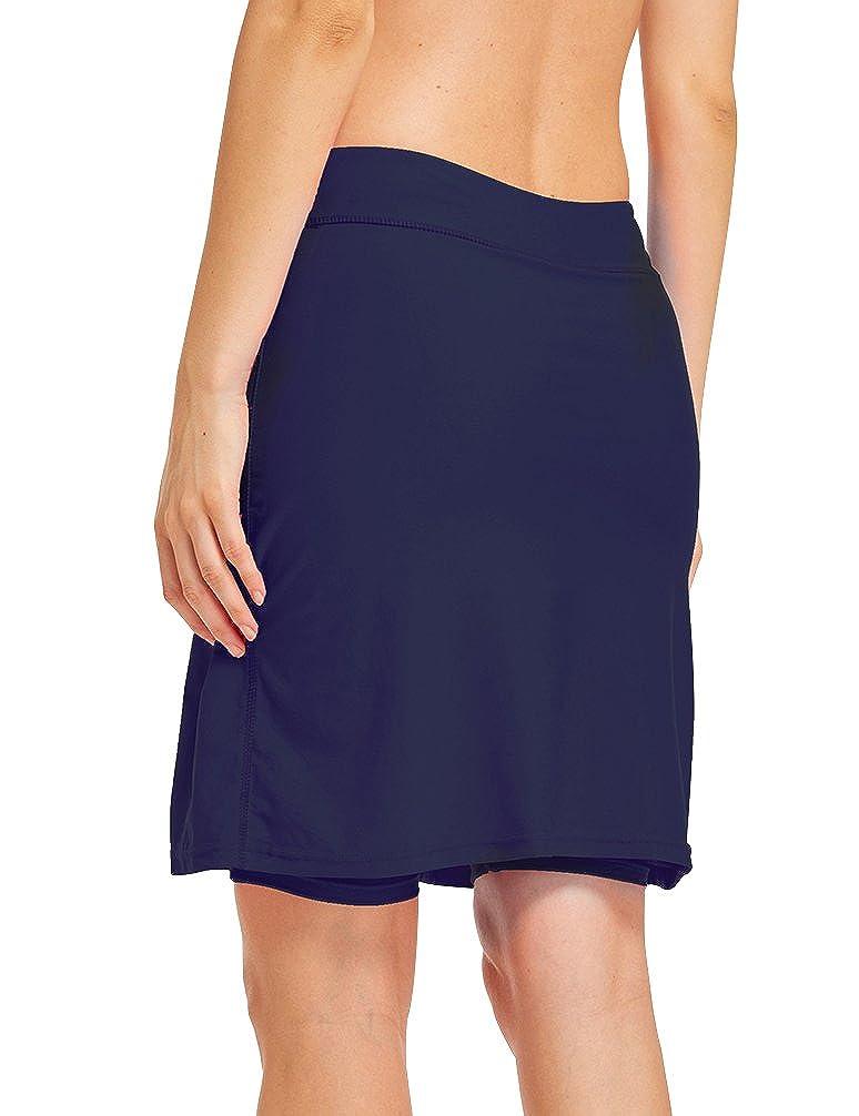 LAUSONS Damen Bikini Hose mit Rock Hoher Taille Strandrock Schwimm Baderock lang