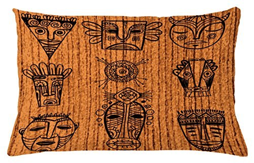 TINA-R African Throw Pillow Cushion Cover, Ritual and Ceremonial Native Tribal Cultural Masks Spiritual Religious Art Print, Decorative Rectangle Pillow Case, 24 X 16 Inches, Brown Black ()