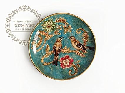 LGK&FA Rural de estilo europeo de cerámica bandejas decorativos para colgar en la pared decoración personalizada