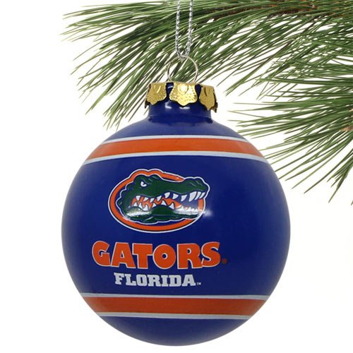 NCAA Florida Gators Striped Glass Ball Ornament - Royal Blue (Football Ornament Team)