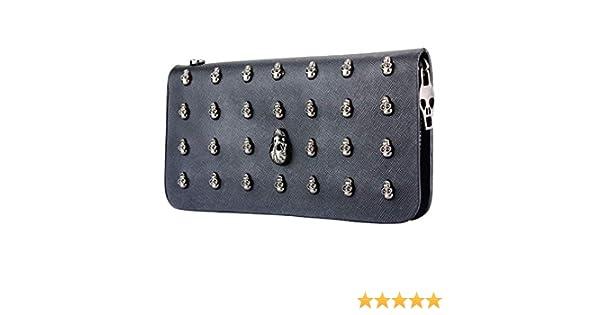 Enjoydeal - Cartera monedero de piel sintética, para mujer, estilo gótico, diseño alargado con calaveras metálicas y cremallera, plateada