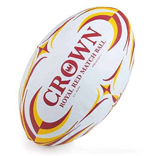 - Crown Sporting Goods Royal Red Rugby Match Ball | Official Size 5 Premium, Textured Grip Ball | Great for Match, Practice, Scrimmage Play