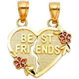 14k Two Tone Gold Best Friends with Flowers Heart Pendant