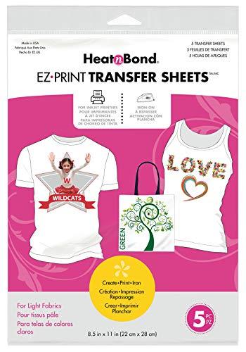 HeatnBond EZ Print Transfer Sheet for Light Fabrics, 5 Sheets, 8.5 Inches x 11 Inches (Best T Shirt Transfer Paper Uk)