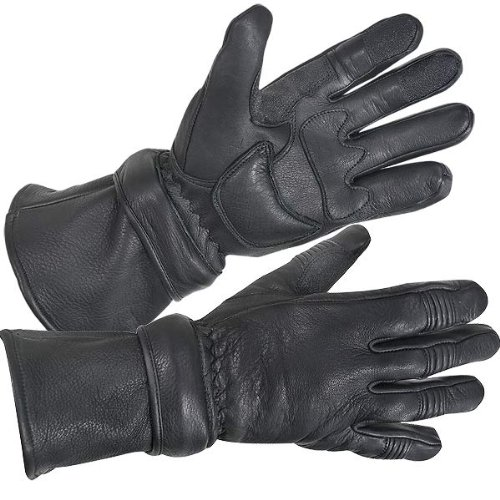 Mens Black Insulated Leather Deerskin Gauntlet Motorcycle Gloves (X-Large)