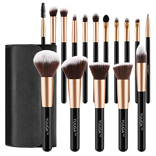 YUUGA 16Pcs Makeup Brush Set - Premium Synthetic Foundation Brush Blending Face Powder Blush Concealers Eye Shadows Make Up Brushes Kit - Pu Leather Bag (Rose Gold 16pcs)