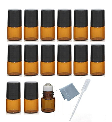 Blend Sample Vials (ELFENSTALL 15pcs Mini 1ml Roll on Glass Bottle for Essential Oil - Empty Aromatherapy Perfume Bottles - Refillable Slim Sample Vial with Metal Ball and Black Lid Amber + FREE Dropper)
