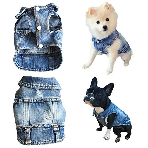 Strangefly Dog Jean Jacket, Blue Puppy Denim T-Shirt, Machine Washable Dog Clothes, Comfort and Cool Apparel, for Small…