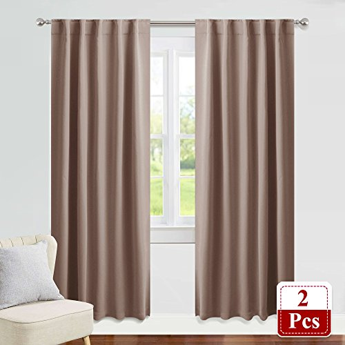 PONY DANCE Window Draperies Set - 42 by 84 inch, Mocha Blackout Curtains Back Tab/Rod Pocket Light Blocking Curtain Panels Thermal Insulated Decoration for Bedroom, Double Pieces