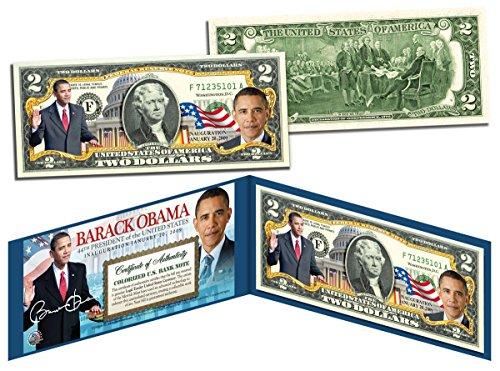 """BARACK OBAMA """"INAUGURATION JANUARY 20TH 2009"""" COLORIZED $2 BILL! W/H BLUE FOLIO & COA!"""