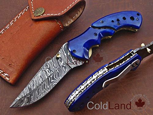 ColdLand | One-of-a-Kind Limited Rare Collection Custom Handmade Damascus Steel Folding Hunting Knife Light Blue Camel Bone with Clip AF14-3
