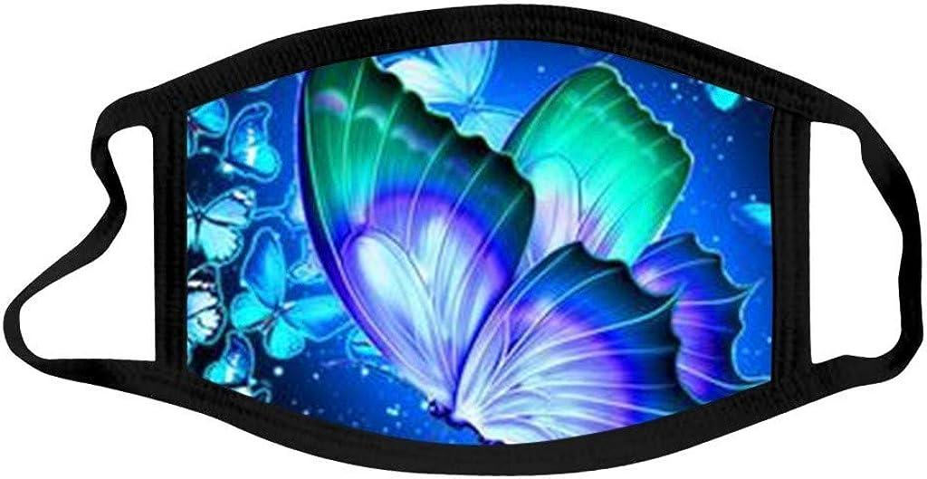 iYmitz Dame Schmetterling Mundschutz Multifunktionstuch Atmungsaktive Staubdichte Bandana Halstuch Baumwolle Stoff Stoffmaske Waschbar Wiederverwendbar Schwarz
