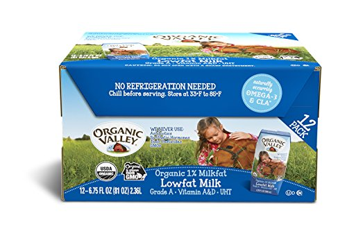 Organic Valley, Organic Milk Boxes, 1% Plain Low Fat Milk, 6.75 Ounces (Pack of 12)