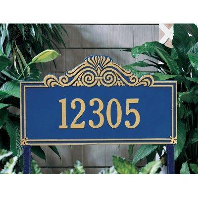 Whitehall Products Villa Nova Rectangular Black/Gold Estate Lawn One Line Address Plaque