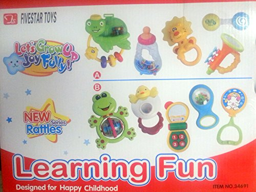 Learning Toys Baby Fun 5 Piece Rattle and Teether Toy Play Set in Milk Botttle Gift by Beeh