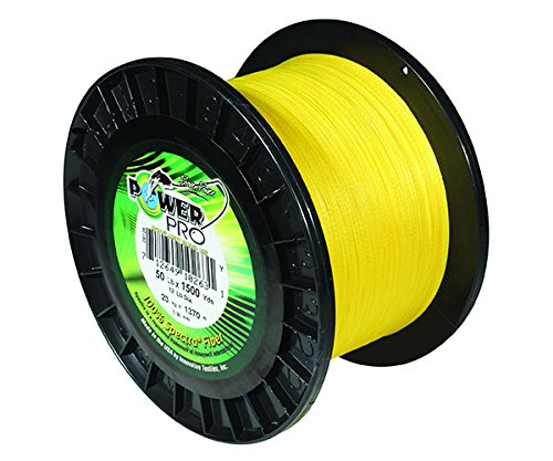 Power Pro 33400500500Y Maxcuatro Braided Fishing Line, 50 lb/500 yd, Hi-Vis Yellow