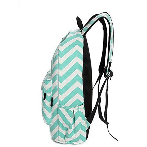 Tfxwerws Fashion ragazze delle signore Moire tela zaino Zaino scuola tracolla (verde menta)