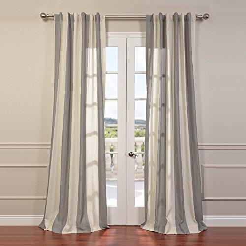 HPD Half Price Drapes FHLCH-YL7178117-96 Linen Blend Stripe Curtain, 50 x 96, Gray