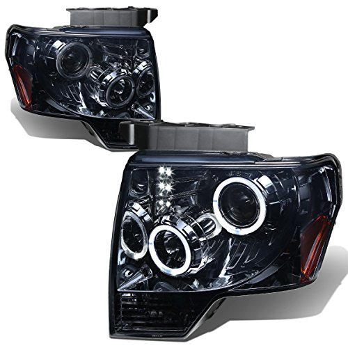 For 09-14 Ford F-150 Smoked Lens Amber Corner Dual Angel Eyes Halo Projector LED DRL Headlight